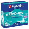 DVD-RW Verbatim 4,7 GB, 4x, jewel box, balení 5 ks